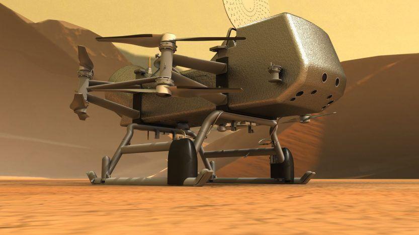 Artist's image of the Dragonfly rotorcraft on Titan (photo: NASA)